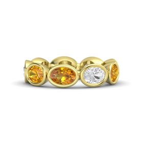 Oval Citrine 14K Yellow Gold Ring with White Sapphire & Citrine
