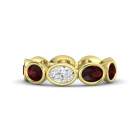 Oval White Sapphire 14K Yellow Gold Ring with Red Garnet