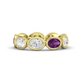 Oval White Sapphire 14K Yellow Gold Ring with Rhodolite Garnet & White Sapphire