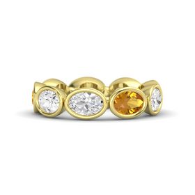 Oval White Sapphire 14K Yellow Gold Ring with Citrine and White Sapphire