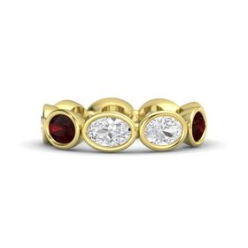 Oval White Sapphire 14K Yellow Gold Ring with White Sapphire and Red Garnet