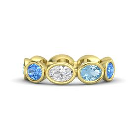 Oval White Sapphire 14K Yellow Gold Ring with Aquamarine and Blue Topaz