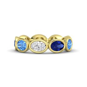 Oval White Sapphire 14K Yellow Gold Ring with Sapphire & Blue Topaz