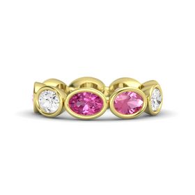 Oval Pink Sapphire 14K Yellow Gold Ring with Pink Tourmaline and White Sapphire