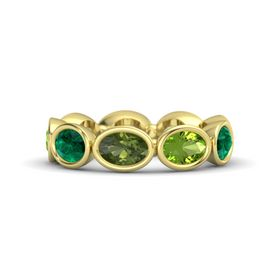 Oval Green Tourmaline 14K Yellow Gold Ring with Peridot and Emerald