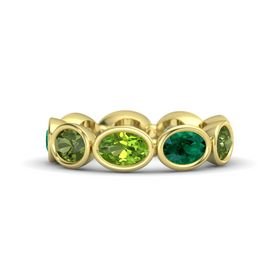 Oval Peridot 14K Yellow Gold Ring with Emerald & Green Tourmaline