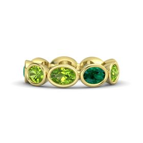 Oval Peridot 14K Yellow Gold Ring with Emerald and Peridot