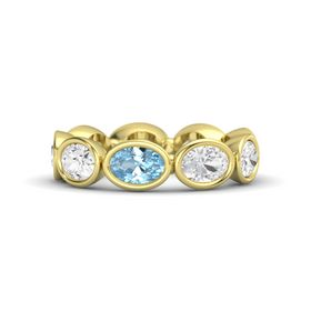 Oval Aquamarine 14K Yellow Gold Ring with White Sapphire
