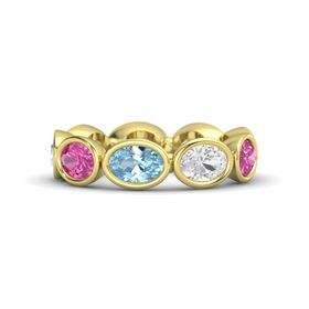 Oval Aquamarine 14K Yellow Gold Ring with White Sapphire and Pink Sapphire
