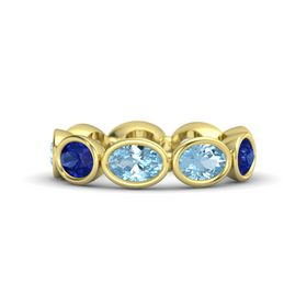 Oval Aquamarine 14K Yellow Gold Ring with Aquamarine and Blue Sapphire