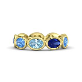Oval Aquamarine 14K Yellow Gold Ring with Blue Sapphire and Blue Topaz