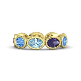 Oval Aquamarine 14K Yellow Gold Ring with Iolite and Blue Topaz