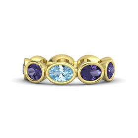 Oval Aquamarine 14K Yellow Gold Ring with Iolite