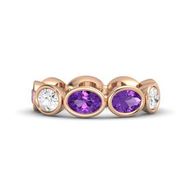 Oval Amethyst 18K Rose Gold Ring with Amethyst and White Sapphire