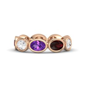 Oval Amethyst 18K Rose Gold Ring with Red Garnet and White Sapphire