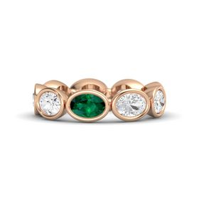 Oval Emerald 18K Rose Gold Ring with White Sapphire