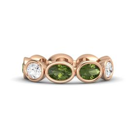 Oval Green Tourmaline 18K Rose Gold Ring with Green Tourmaline and White Sapphire