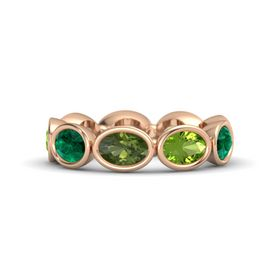 Oval Green Tourmaline 18K Rose Gold Ring with Peridot and Emerald
