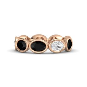 Oval Black Onyx 18K Rose Gold Ring with White Sapphire and Black Onyx