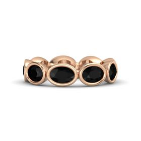Oval Black Onyx 18K Rose Gold Ring with Black Onyx