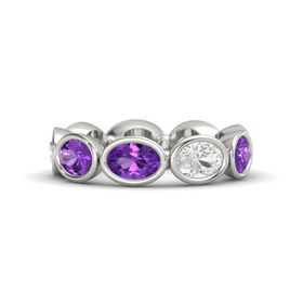 Oval Amethyst 18K White Gold Ring with White Sapphire and Amethyst