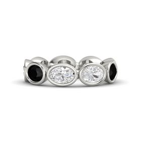 Oval White Sapphire 18K White Gold Ring with White Sapphire and Black Onyx