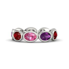 Oval Pink Tourmaline 18K White Gold Ring with Rhodolite Garnet and Ruby