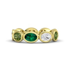 Oval Emerald 18K Yellow Gold Ring with White Sapphire and Green Tourmaline