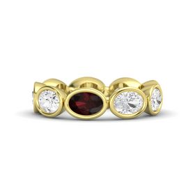 Oval Red Garnet 18K Yellow Gold Ring with White Sapphire