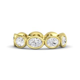 Oval White Sapphire 18K Yellow Gold Ring with White Sapphire