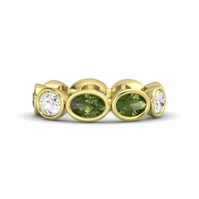 Oval Green Tourmaline 18K Yellow Gold Ring with Green Tourmaline and White Sapphire