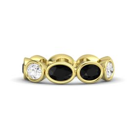 Oval Black Onyx 18K Yellow Gold Ring with Black Onyx and White Sapphire