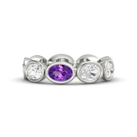 Oval Amethyst Palladium Ring with White Sapphire