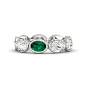 Oval Emerald Palladium Ring with White Sapphire