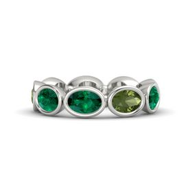 Oval Emerald Palladium Ring with Green Tourmaline & Emerald