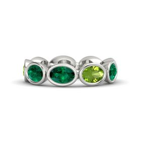 Oval Emerald Palladium Ring with Peridot and Emerald