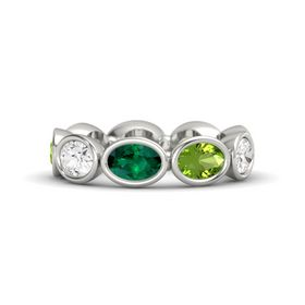 Oval Emerald Palladium Ring with Peridot & White Sapphire
