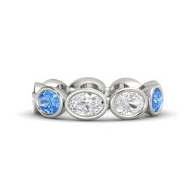 Oval White Sapphire Palladium Ring with White Sapphire & Blue Topaz