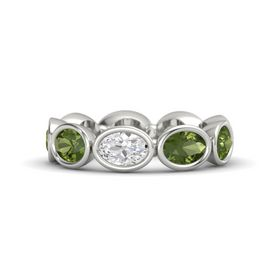 Oval White Sapphire Palladium Ring with Green Tourmaline