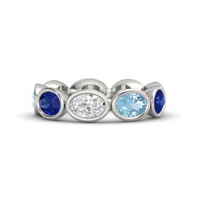 Oval White Sapphire Palladium Ring with Aquamarine and Blue Sapphire