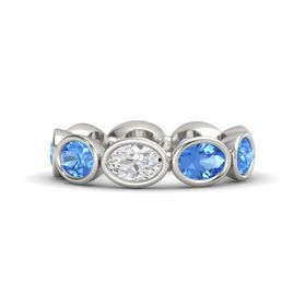 Oval White Sapphire Palladium Ring with Blue Topaz