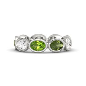 Oval Peridot Palladium Ring with Green Tourmaline & White Sapphire