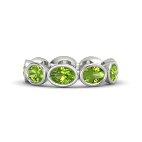 Oval Peridot Palladium Ring with Peridot