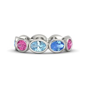 Oval Aquamarine Palladium Ring with Blue Topaz and Pink Sapphire