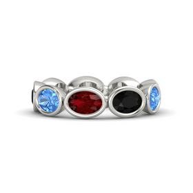 Oval Ruby Palladium Ring with Black Onyx & Blue Topaz