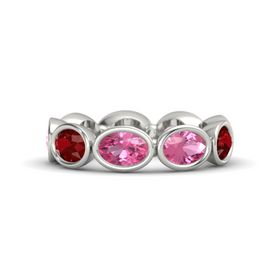 Oval Pink Tourmaline Palladium Ring with Pink Tourmaline and Ruby