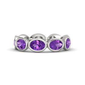 Oval Amethyst Platinum Ring with Amethyst