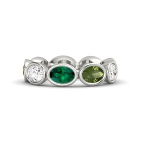 Oval Emerald Platinum Ring with Green Tourmaline & White Sapphire