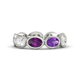 Oval Rhodolite Garnet Platinum Ring with Amethyst and White Sapphire