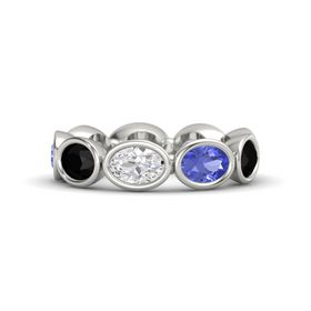 Oval White Sapphire Platinum Ring with Tanzanite & Black Onyx